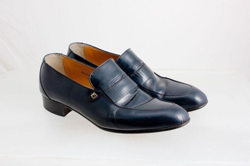 8c0007fcb52 Playboy Dark Blue Loafers Leather Mens Size 8 M Vintage Slip-on Swanky   Playboy  LoafersSlipOns