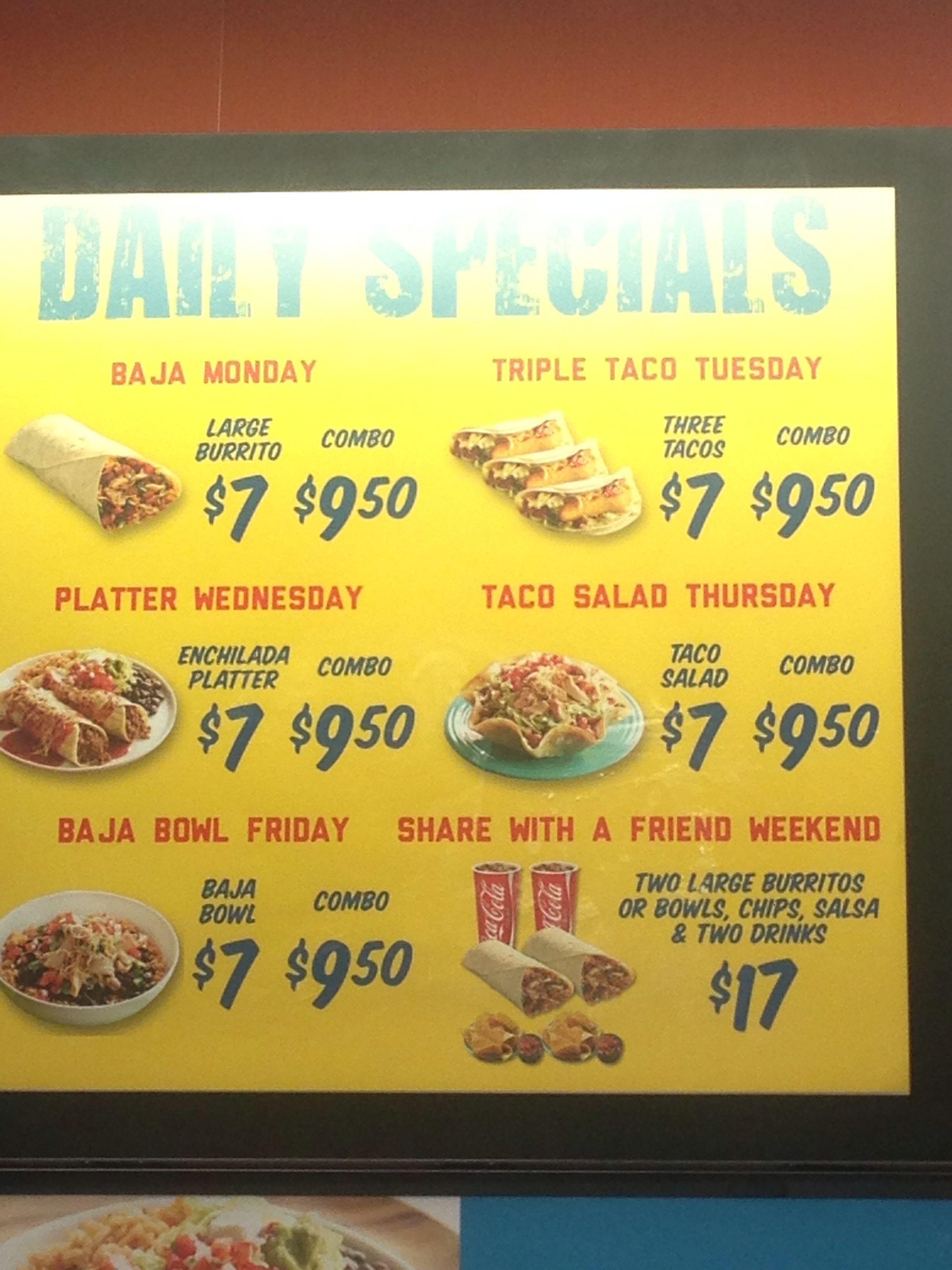Taco Del Mar Daily Special Main Street Winnipeg Mb Menu Restaurant Daily Specials Burrito Bowl