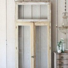 1940 Weathered Buttercream Vintage Glass Panel Doors