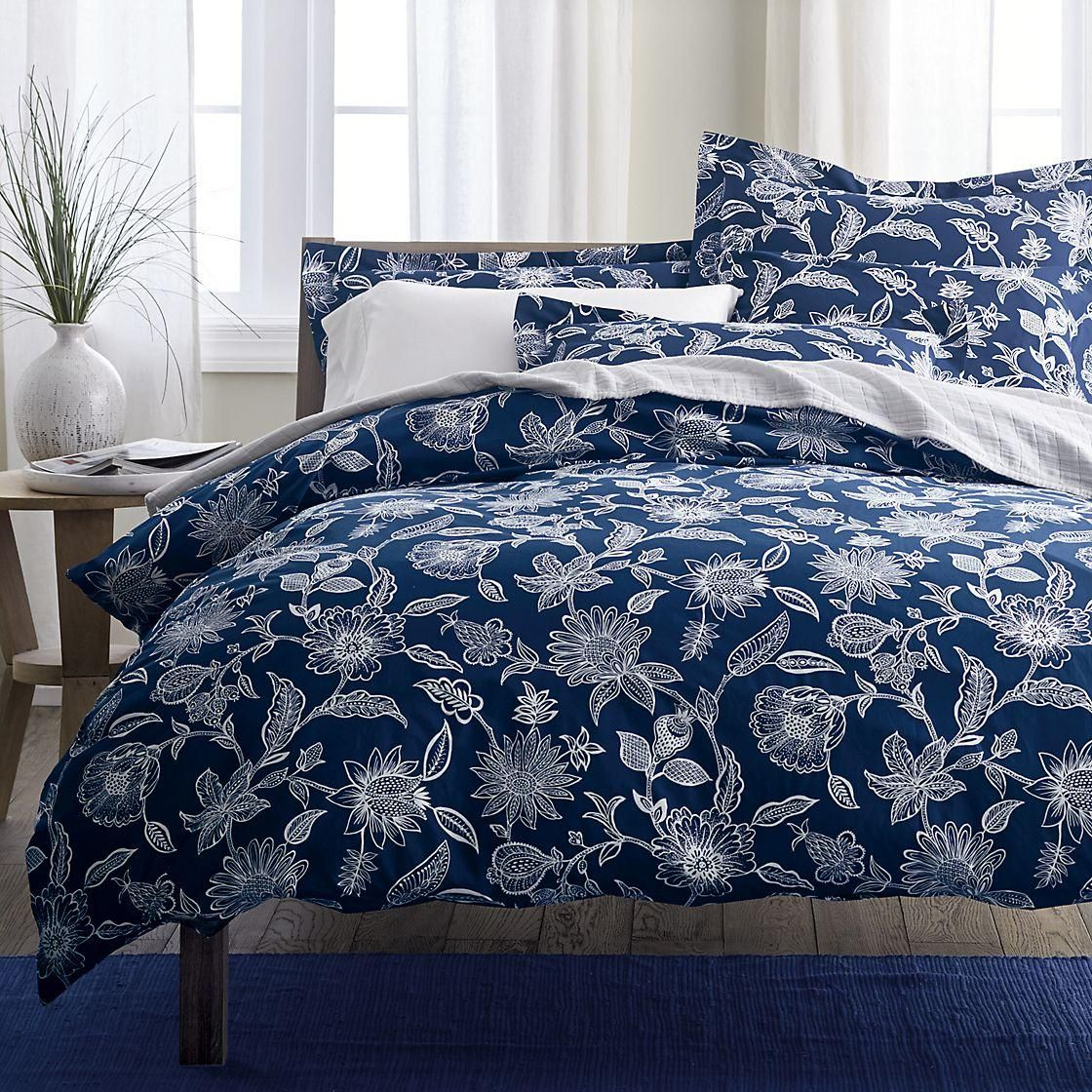 Jamison Floral Percale Duvet Cover, King, Blue/White The