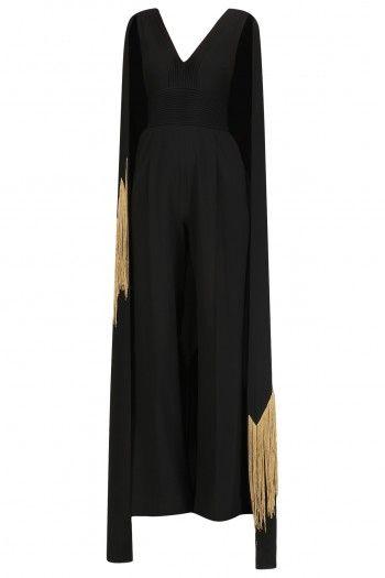e5ae722a1308 Ohaila Khan Black Embroidered Cape Jumpsuit