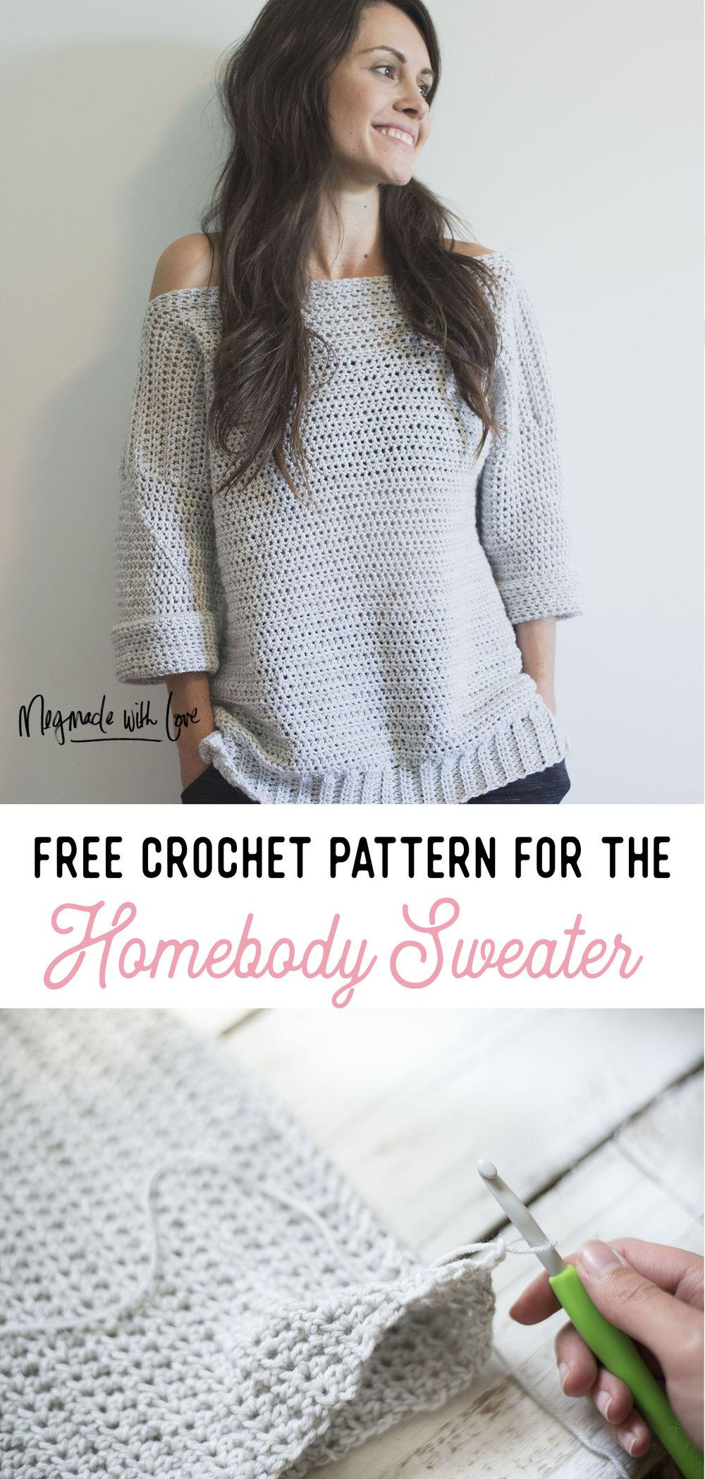 Free crochet pattern for the homebody sweater pullover free crochet pattern for the homebody sweater pullover beginner friendly megmade bankloansurffo Gallery