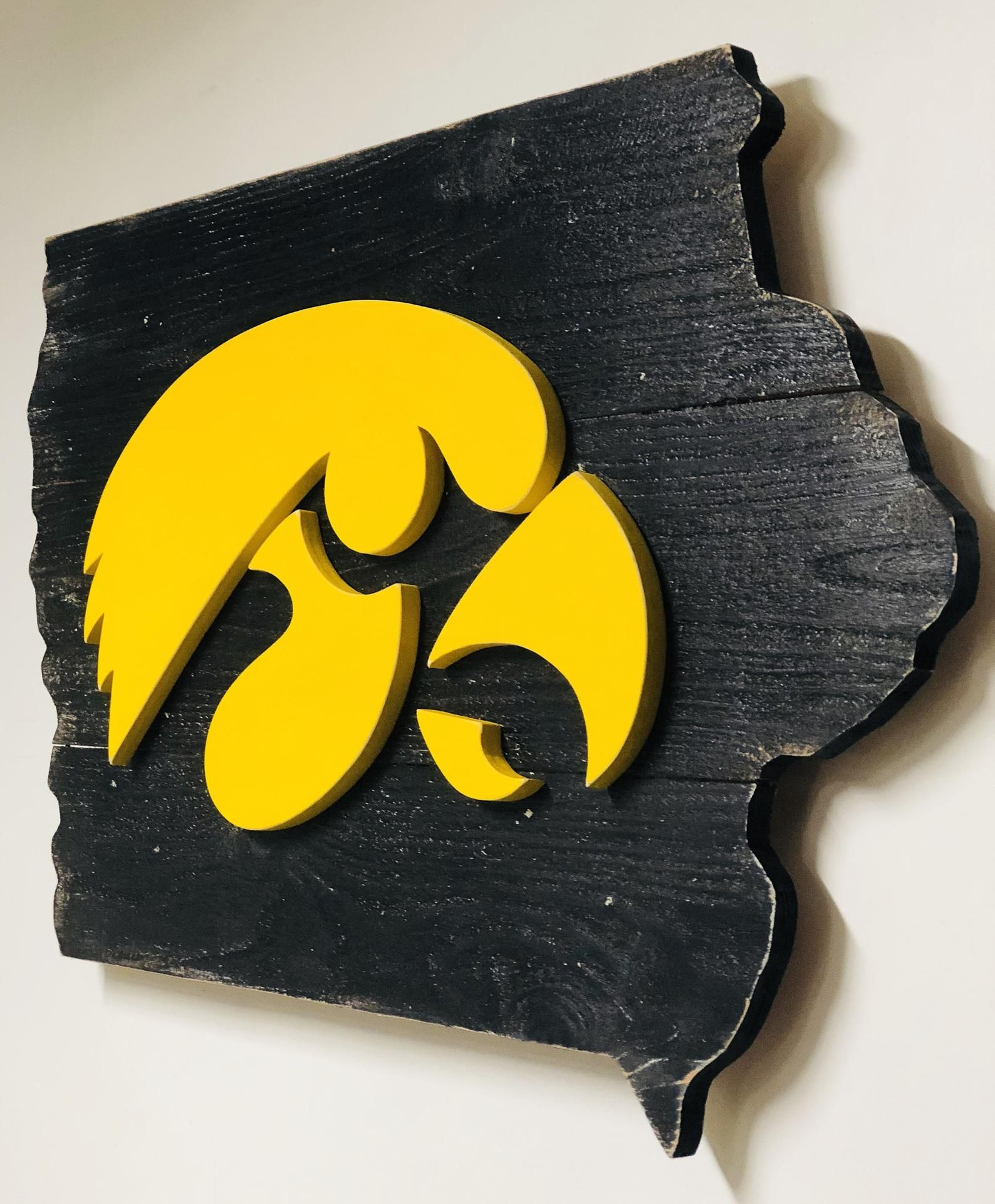 3D Iowa Hawkeye Distressed State Map Cutout One Of A