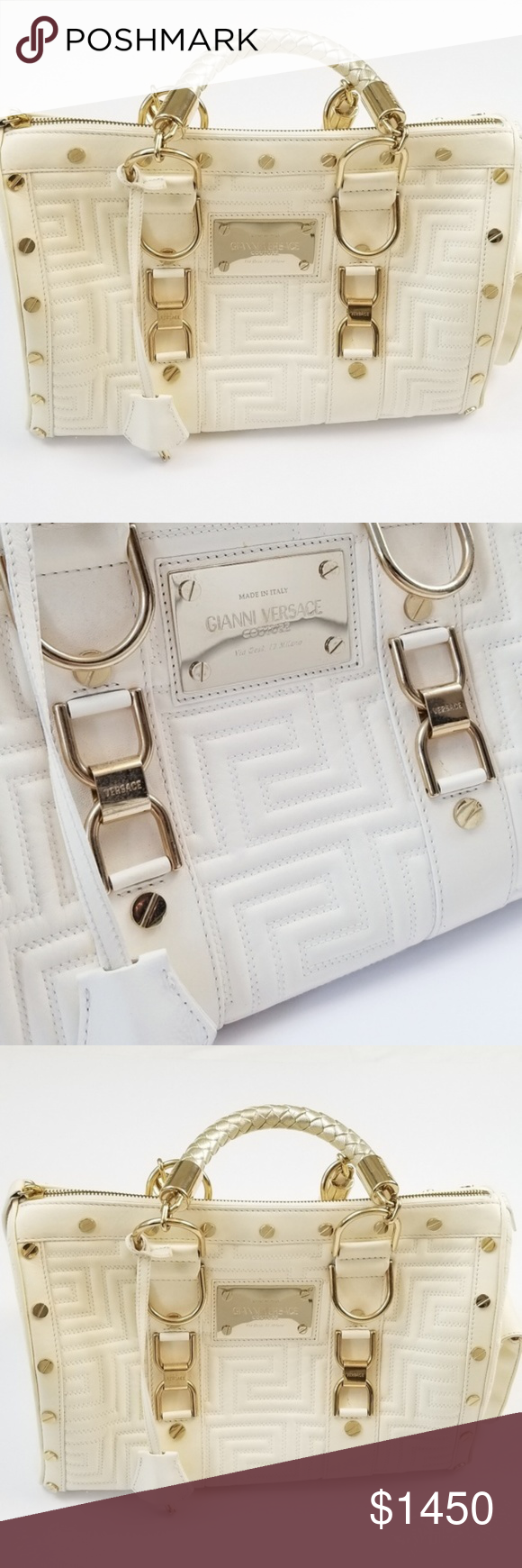 3eb9568b774 Versace Couture Designer Quilted Cream Bag Gianni Versace Couture Designer  Quilted Cream Bag - Snap Out