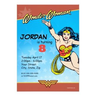 This personalized Wonder Woman birthday invitation comes with many
