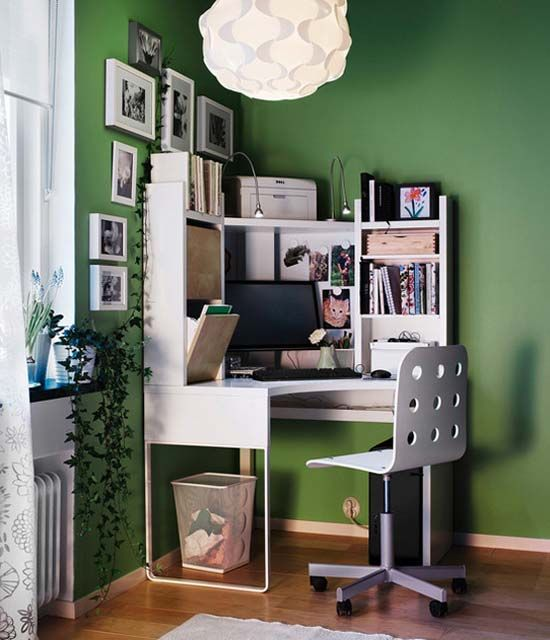 Great Home Office Using Ikea Green Wall Home Office Design From Ikea Photo Office Pinterest Home Office Design Small Home Offices And Home Office