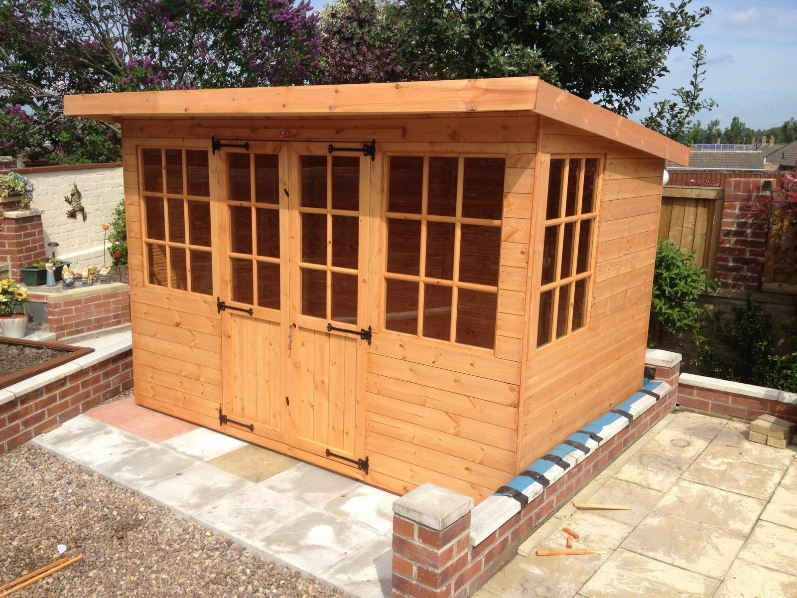 10x8 Wooden Pent Summerhouse Georgian Style Fully Tongue And Groove Garden Storage Shed Mini Shed Plastic Storage Sheds