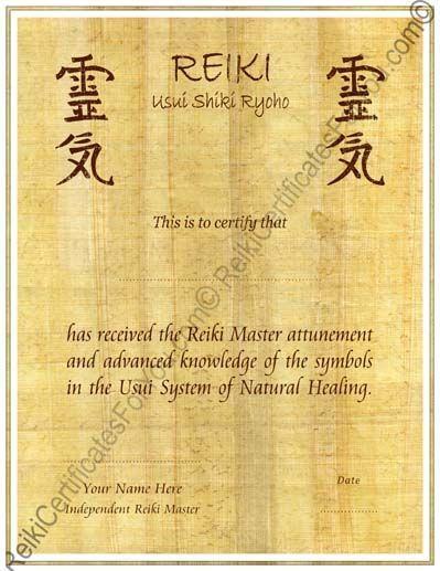 reiki certificate template