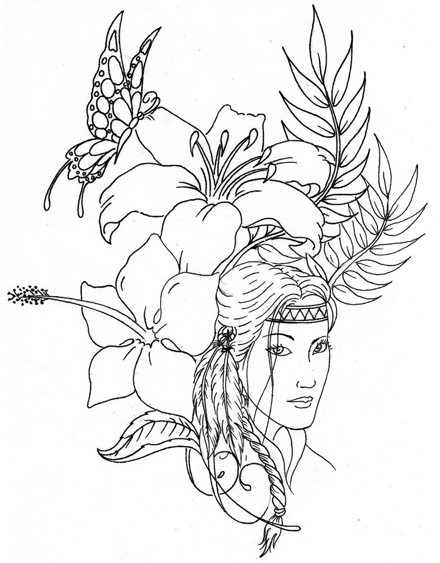 Native American Printable Coloring Pages Adult Native American
