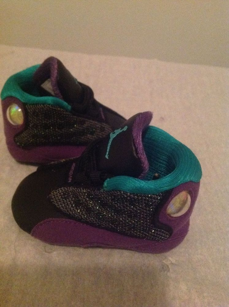 9d483367854981 Nike Air Jordan Boy Girl Unisex Reto 13 Infant Black Purple Teal Laces Size  1C  Nike  Athletic