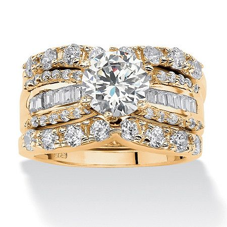 Chic three piece wedding ring set features a round and baguette cubic zirconia design coveted by today\'s savvy brides,Price - $99-bFMqbfqM