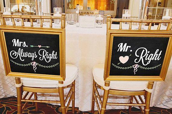 Mr. Right & Mrs. Always Right Blackboard Signs by SoChicDIY