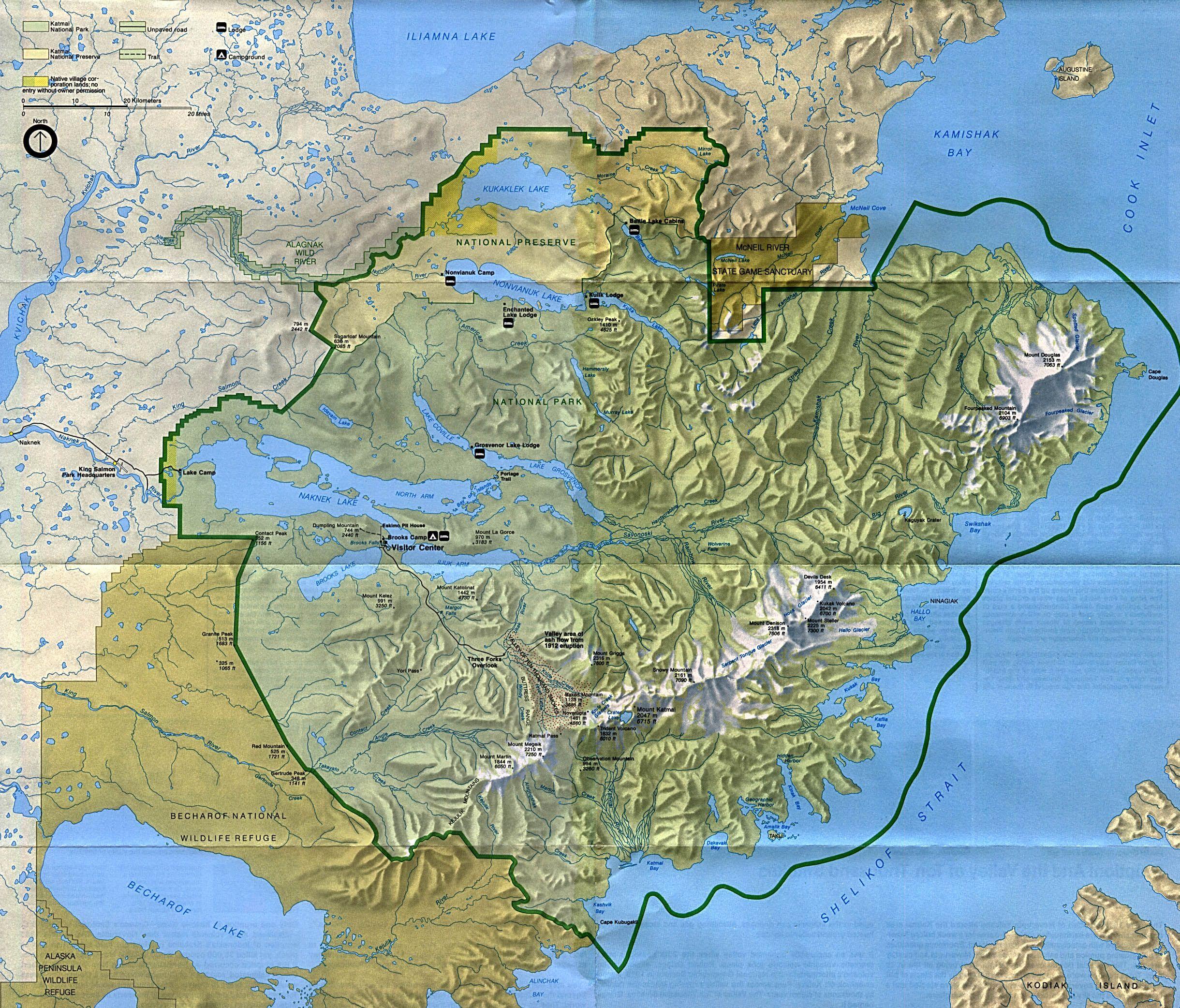 katmai national park Katmai National Park and Preserve Park Map