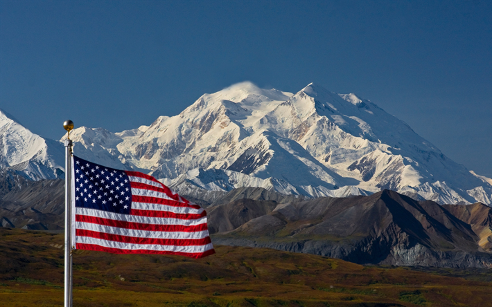 Download Wallpapers Flag Of The United States Mountain Landscape
