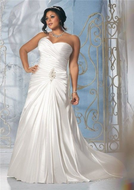 Mori Lee Plus Size Wedding Dresses Strapless Sweetheart Ruched