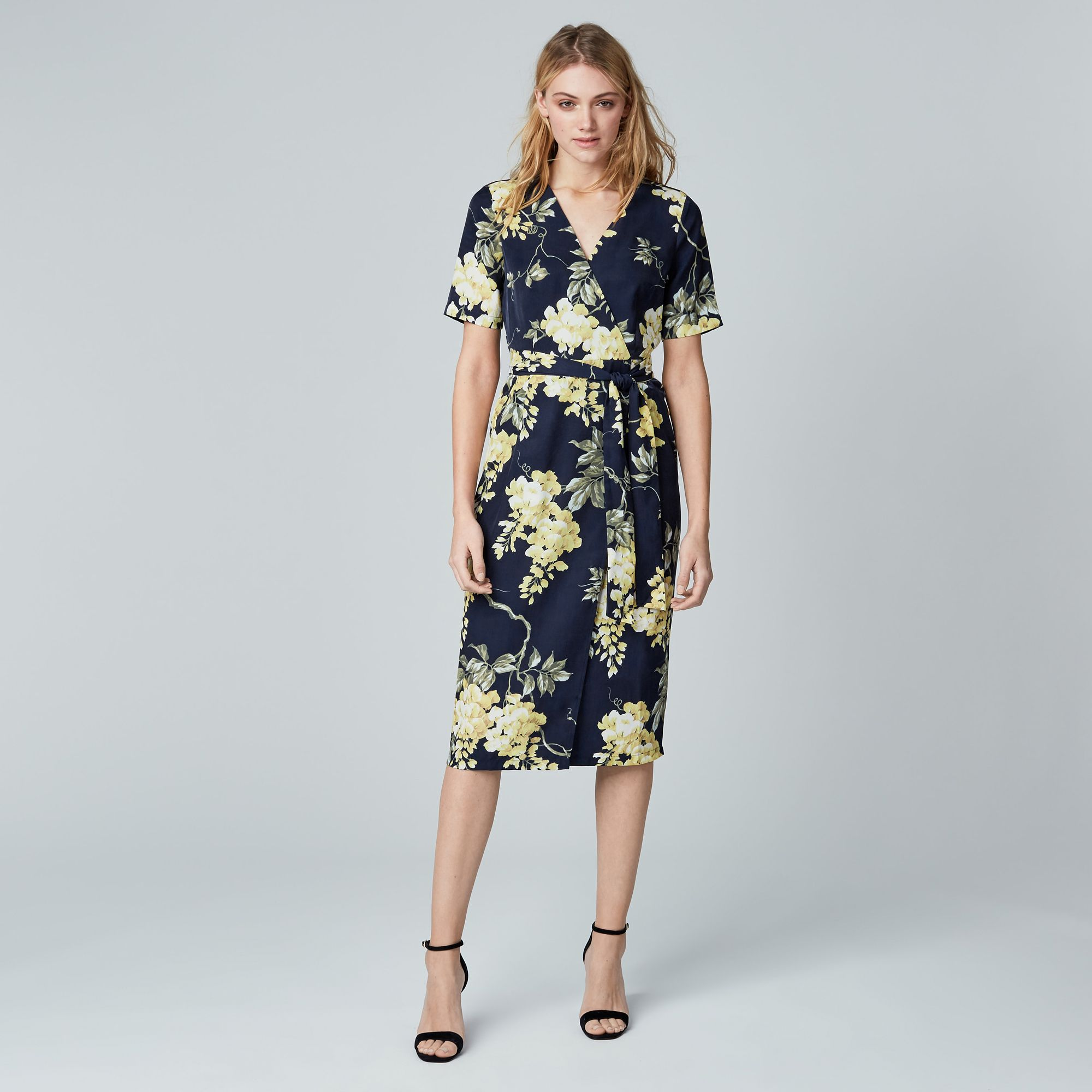Warehouse, WISTERIA FLORAL WRAP DRESS Blue Pattern 2