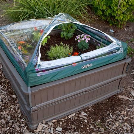 Lifetime 4 X 4 Raised Garden Bed 2pk With 1 Tent Brown
