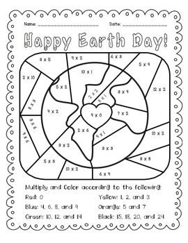 Earth Day: Multiply and Color Activity $1.50. Celebrate