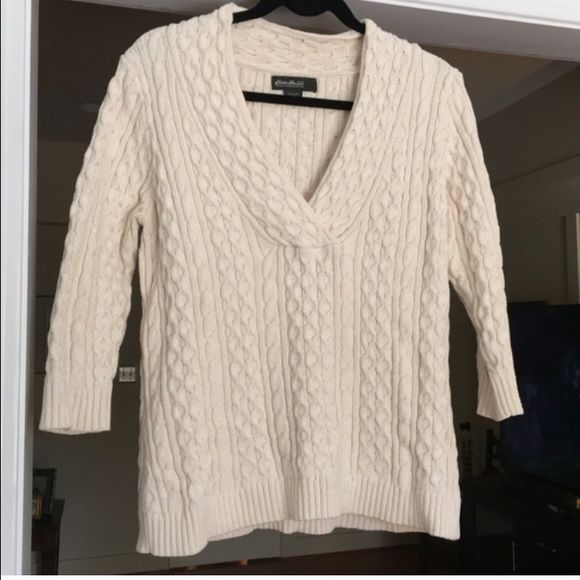 Eddie Bauer Cream Knit Sweater Cable Knitting Cable And Customer