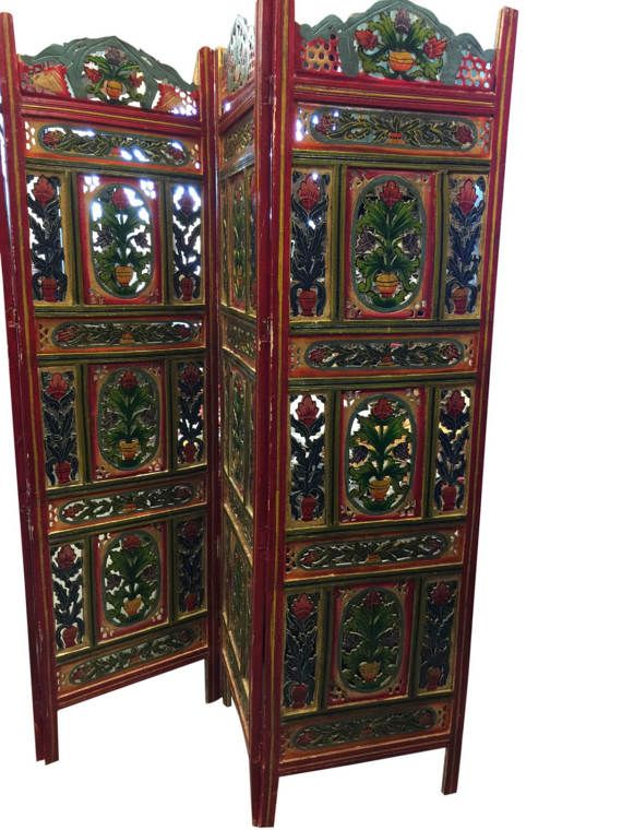 Vintage Hand carved Hand painted 4 Panel Floral Handcrafted Wood ...