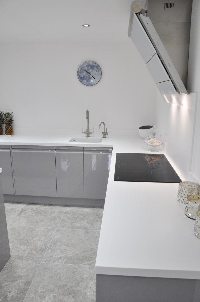 White Kitchen Grey Worktop our clients # viseu handleless grey & white high gloss