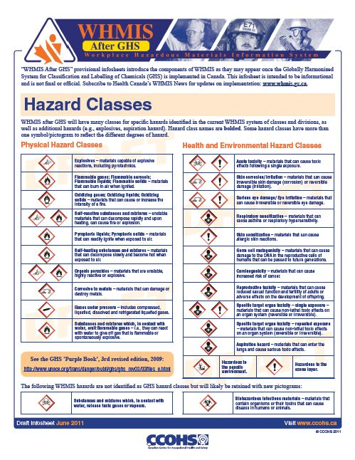 WHMIS After GHS - Hazard Classes Fact Sheet Safety and - manual handling risk assessment