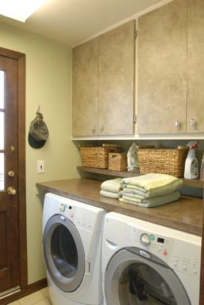Solid Countertop Across The Top Of Washer Dryer Set Add A Smaller Shelf Right Above It For Quick Access Items Like Detergent And Sheets