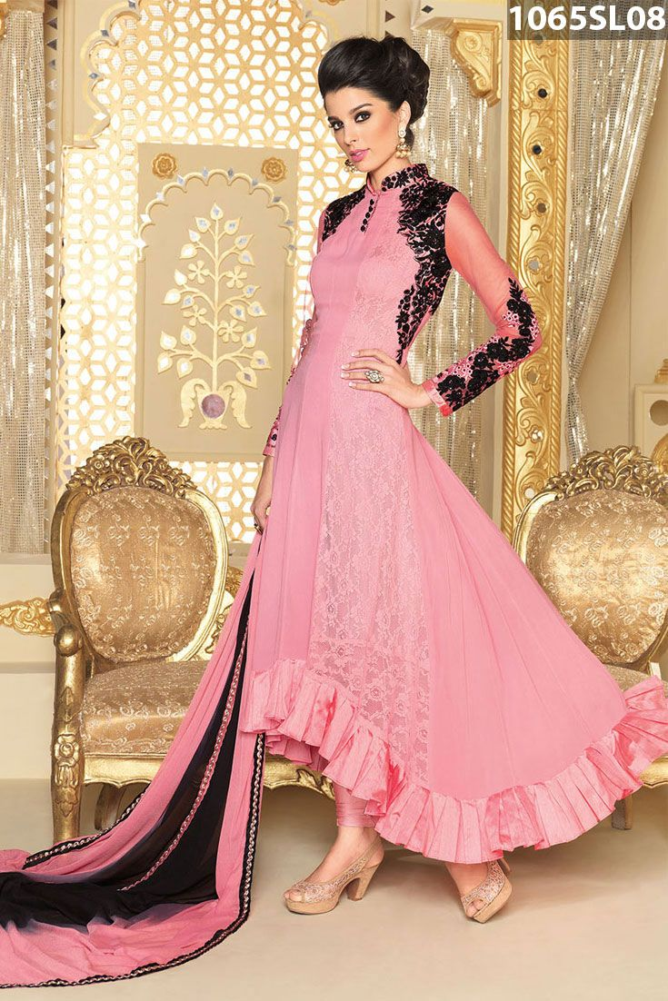 Pink georgette and brasso net asymmetric style kameez amplified with stone 0fb2f7a69