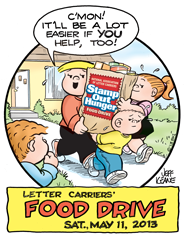 Letter Carriers 'Stamp Out Hunger' National Food Drive – 5/11/2013.  Leave canne…