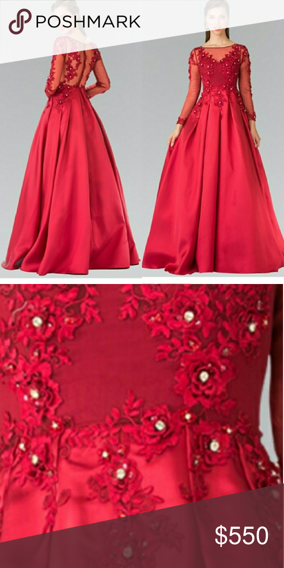 Long sleeve red prom dress Beautiful red ball gown Available in ...