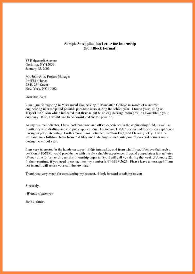 cover letter sample for resume internship