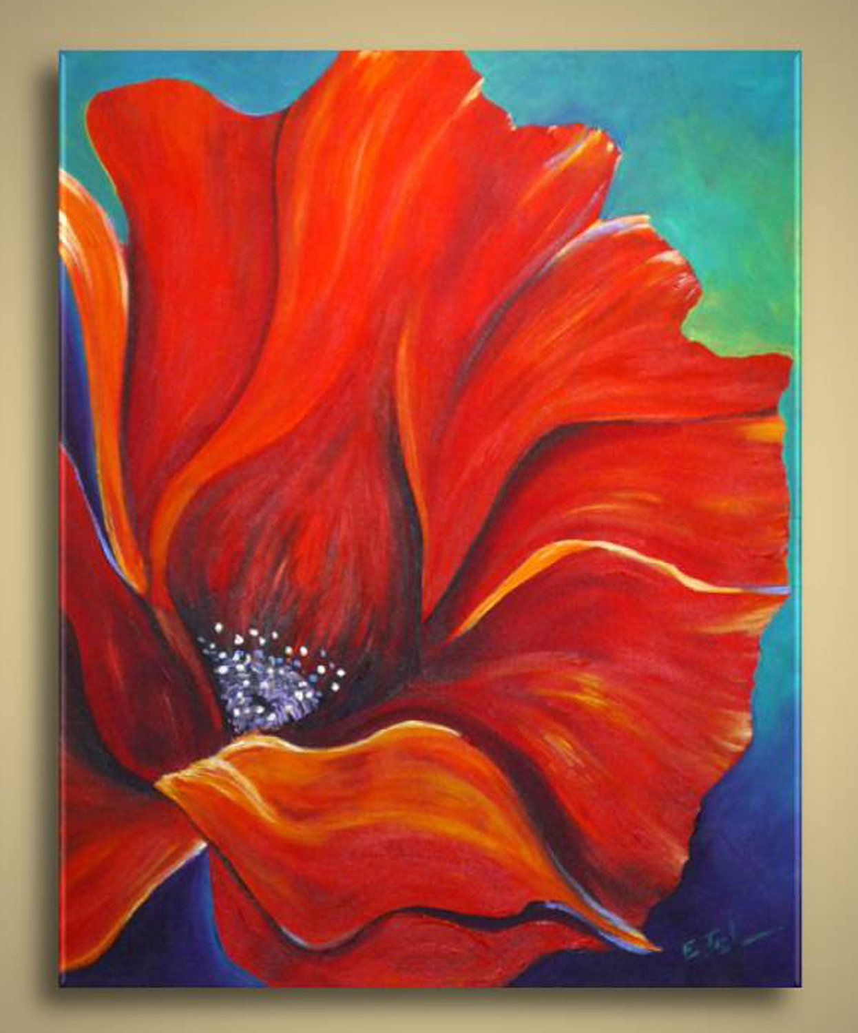 Original Acrylic Painting - Red Poppies Flowers Fields Red Beige ...