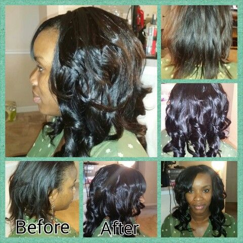 Full Sew In Installation with Natural Hair Out In Front!