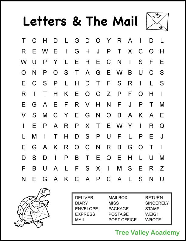 4th Grade Mail Theme Word Search in 2020 (With images