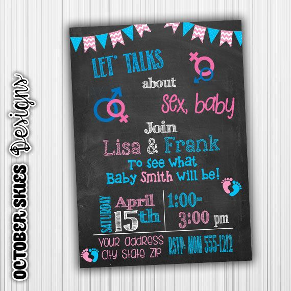 Let's Talk About Sex, Gender Reveal Invitation, Chalk invite, baby Announcement, Custom Digital File by OctoberSkiesDesigns on Etsy