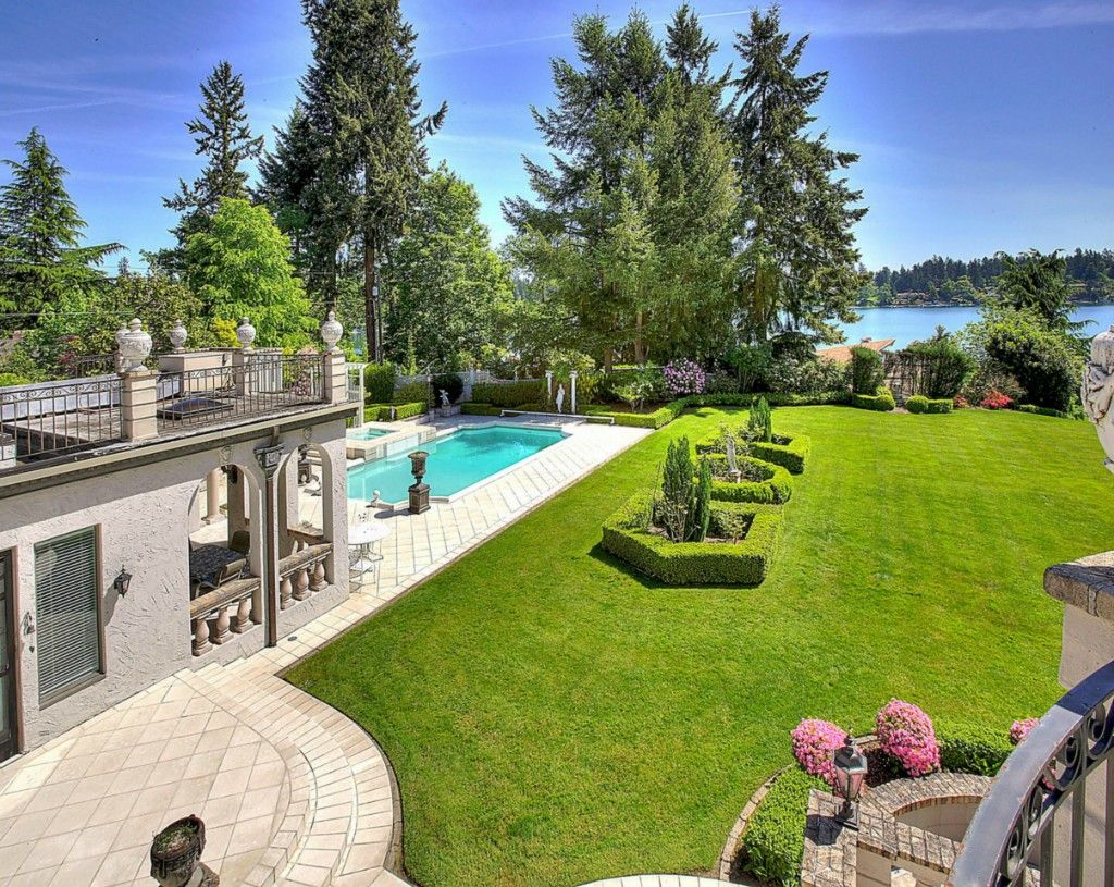 French backyard gardens - French Provincial Estate In Lakewood Wa Beautiful Backyard Pool Landscaping Luxury