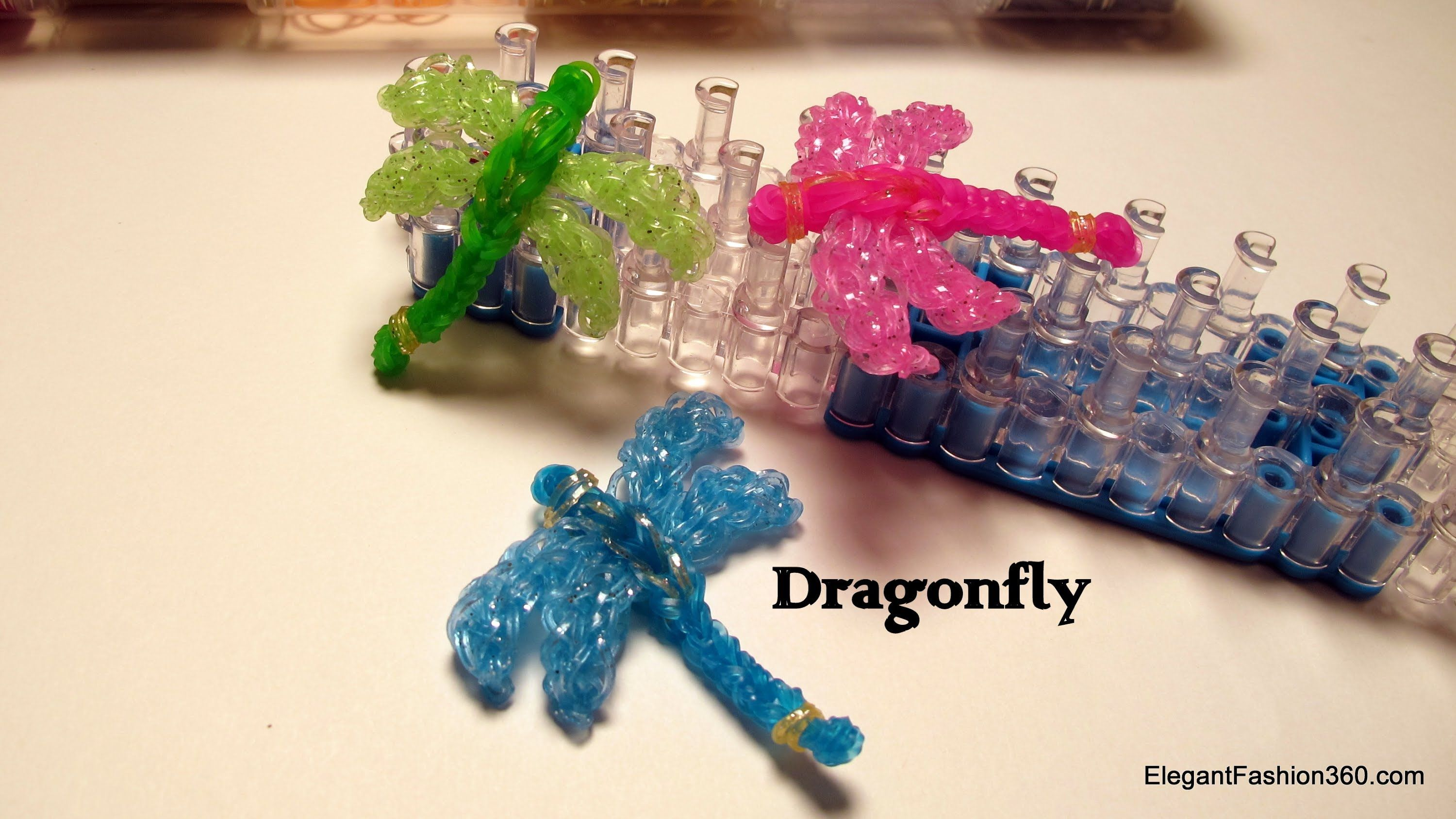 How to make Dragonfly Charm - Rainbow Loom - Insect Series