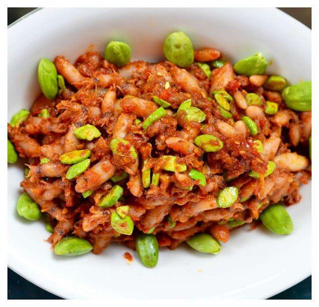 Indonesian Medan Food Sambal Cumi Pete Dried Baby Squid In Chilli And Tomato Sauce Resep Masakan Makanan Dan Minuman Masakan