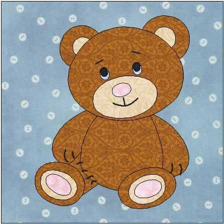 Teddy Bear Quilt Block Pattern | Amrum