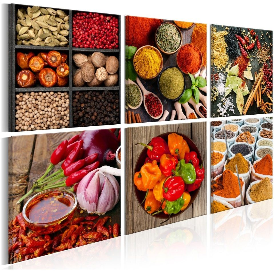 Wall Art For Kitchen Photo On Canvas With Tasty Vegetables And Spices Bring Colours