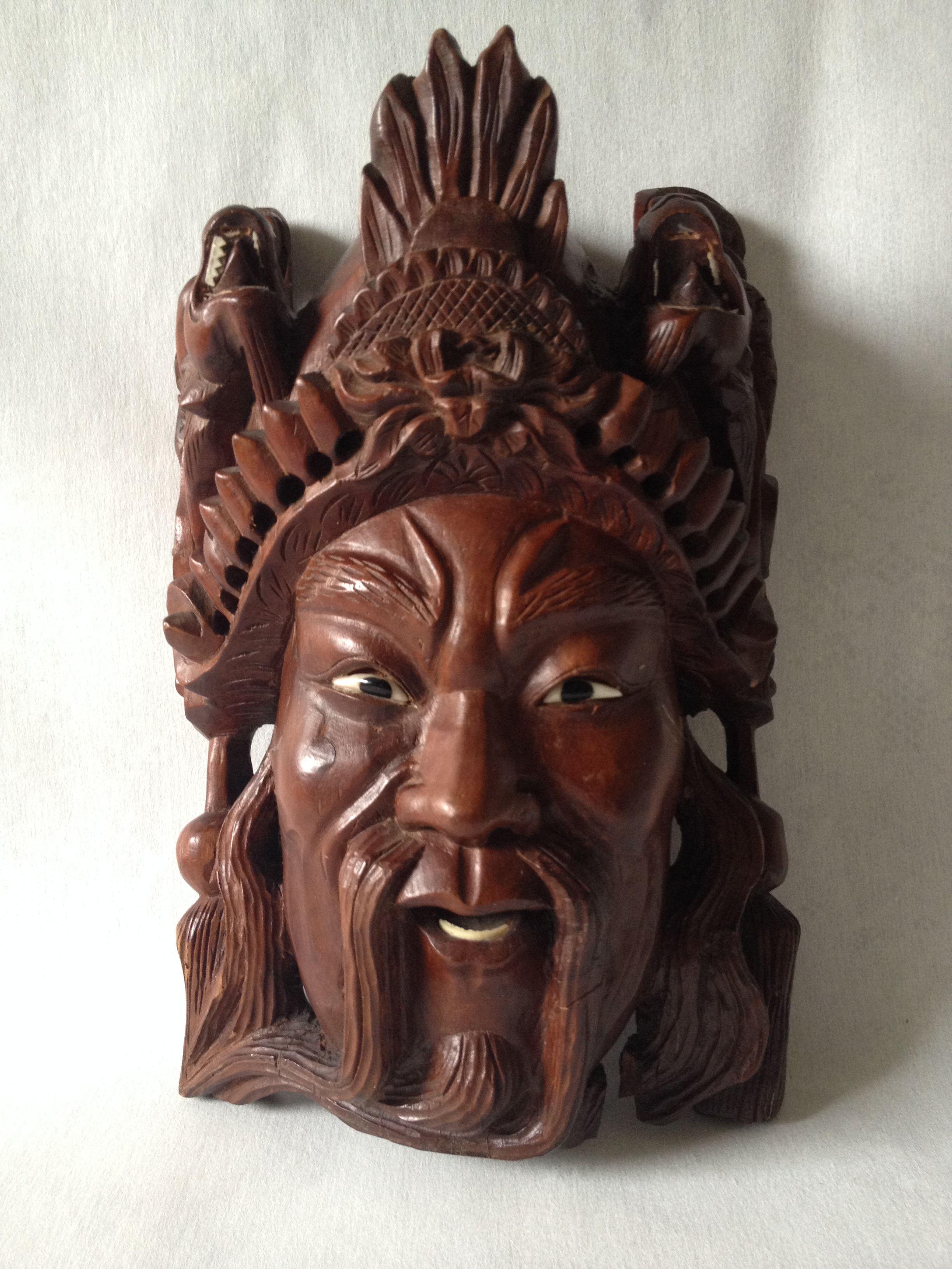Huge old hand carved wood federal eagle folk art wooden eagle wall - Vintage Large Hand Carved Rosewood Chinese Emperor Manchurian Man Wall Mask
