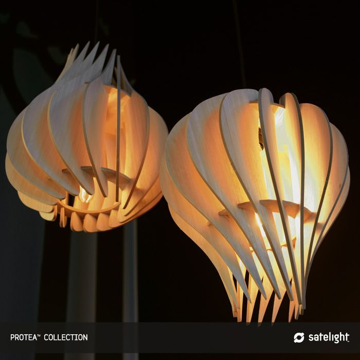 Protea Pendant Lighting Collection   Wooden Veneer Decorative Pendant Lights