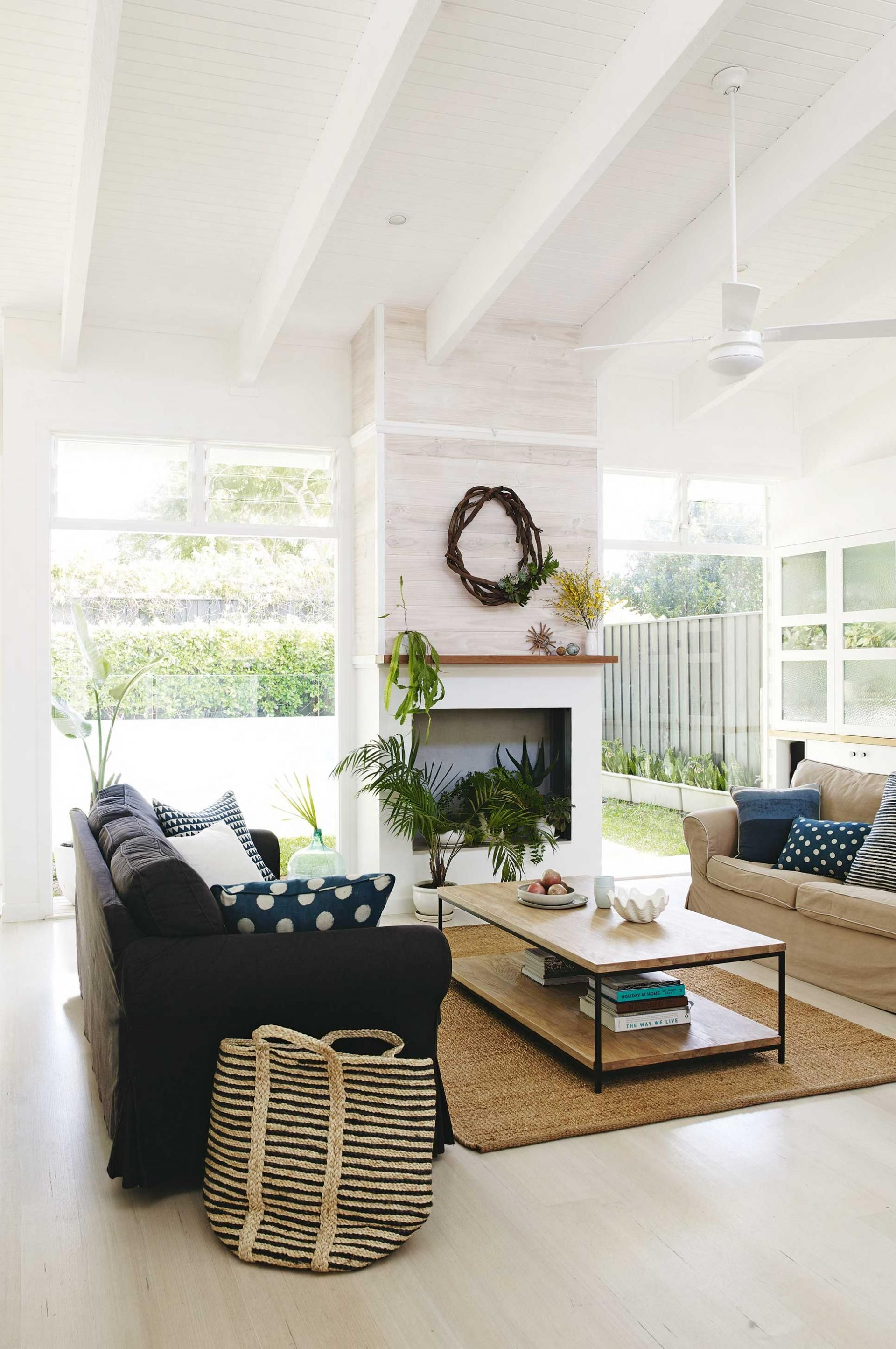 white-beach-living-room-ceiling-fan-rafters-jun15- | Home ...