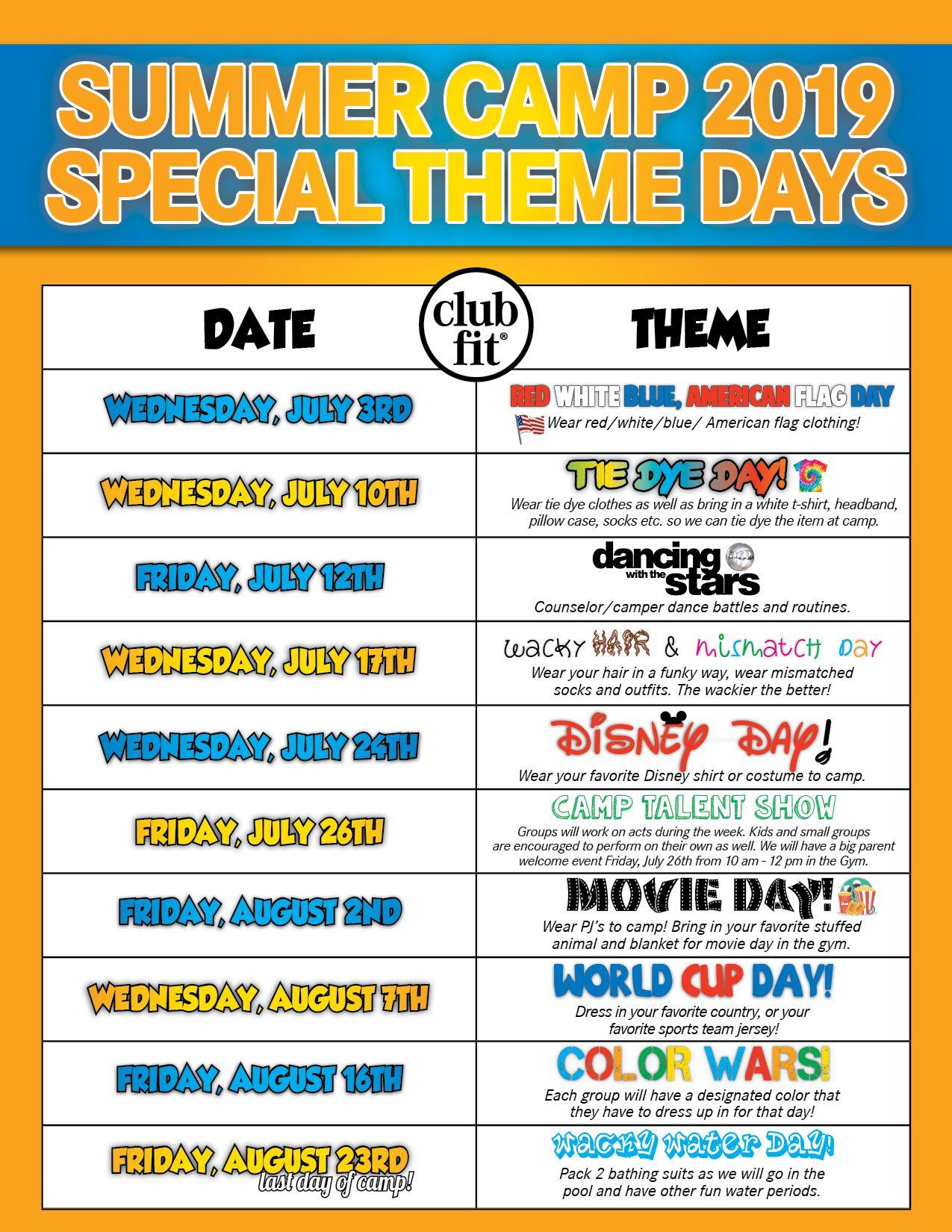 Camp Theme Days Lunch Menu Club Fit Briarcliff Theme Days