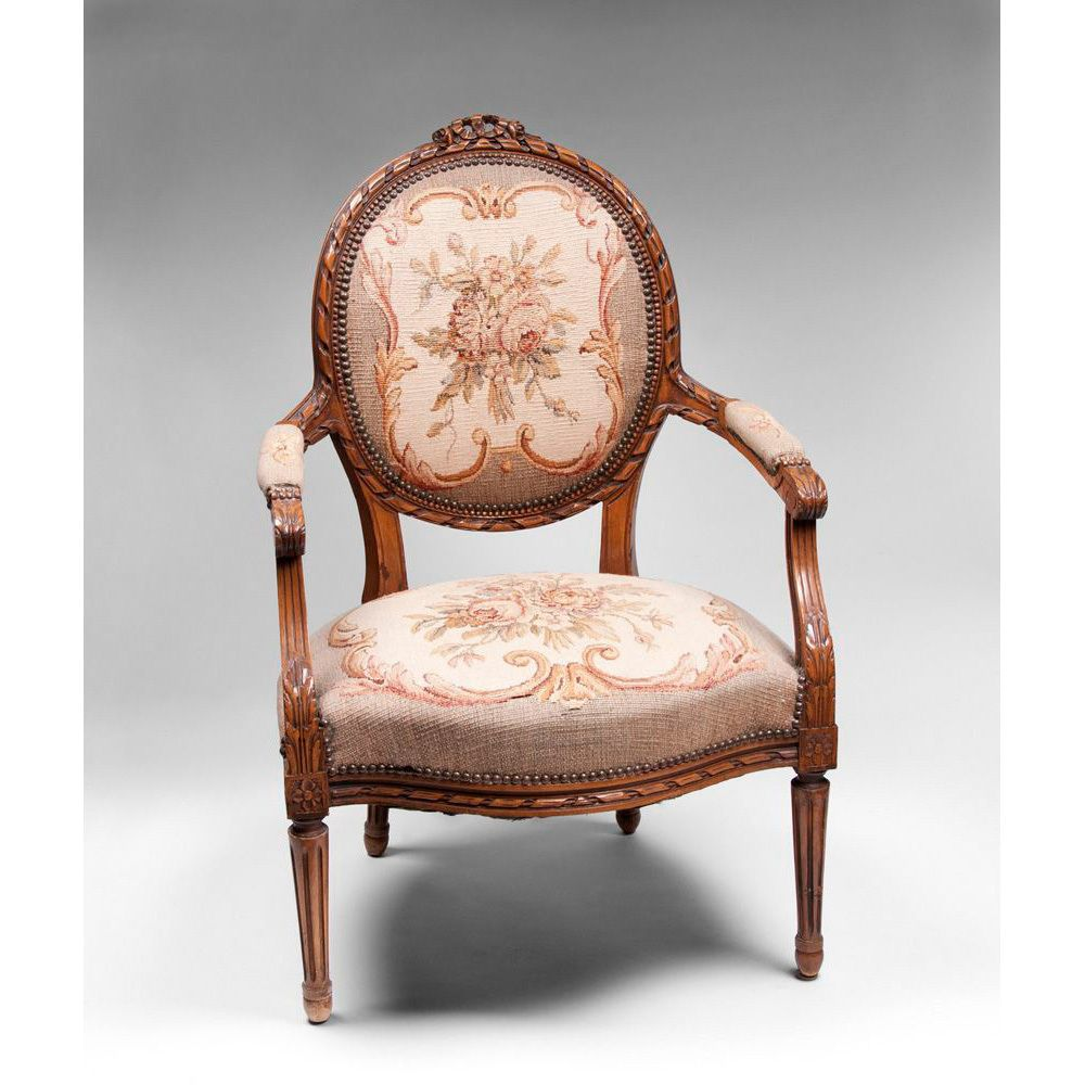 ribbon carved louis xvi fauteuil or armchair needlepoint. Black Bedroom Furniture Sets. Home Design Ideas