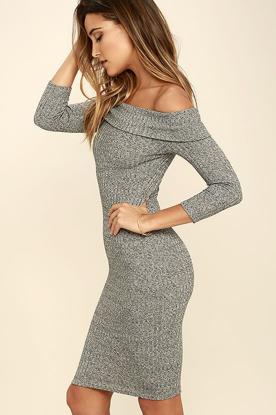 7c4a764fd39a Too Good Grey Off-the-Shoulder Sweater Dress in 2019 | Style ...