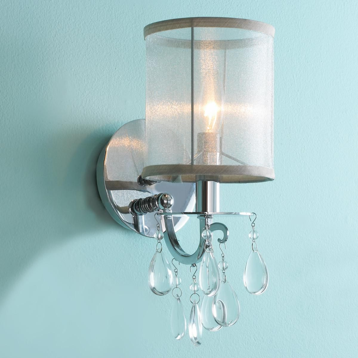 Bath Sconces With Shades modern glam crystal and sheer shade sconce | sheer shades
