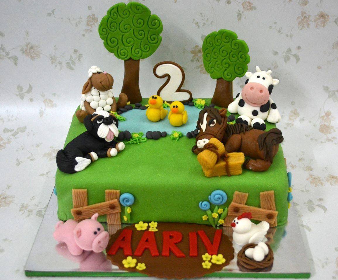 Farm animals themed second birthday cake Papillon Cupcakes and