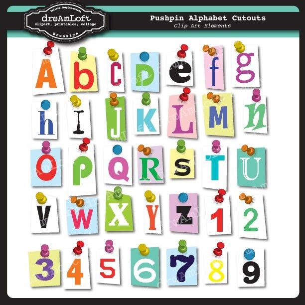 Cutout Pushpin Alphabet and Numbers Clipart Set for cards ...