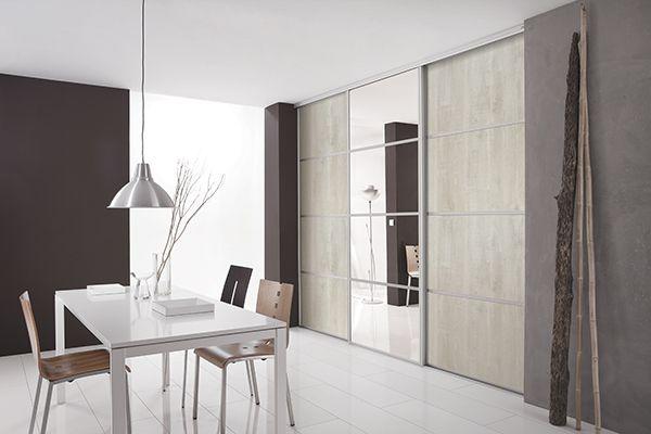 kazed portes de placard coulissantes kanza bois flott cr me et miroir argent pi ce de vie. Black Bedroom Furniture Sets. Home Design Ideas
